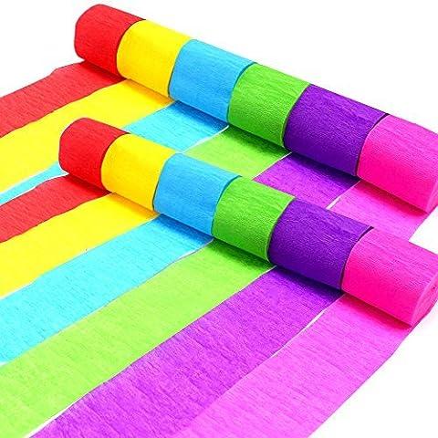 Coceca 36 Rouleaux Papier Crépon Crêpe Streamers , 6 couleurs, peuvent être utilisés pour les décorations d'une variété de fêtes d'anniversaire, de mariage et des soirées des jours fériés