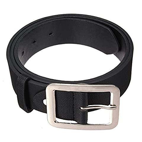 Sanwood Men's Waistband Faux Leather Buckle Waist Strap Belt (Black)