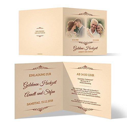 10 x Goldene Hochzeit Einladungskarten Goldhochzeit Einladungen 50 Jahre - Zeitsprung
