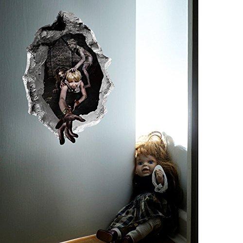 XINAINI 3D Wandaufkleber Wandtattoo Wanddeko FüR Wohnzimmer, Kinderzimmer, TüRen, Fenster, Badezimmer,GlüCkliches Halloween-Abnehmbarer Haupt Horror Wandsticker