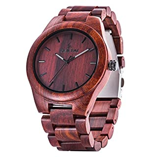 Wooden Watch Sentai Nature Wood Watch for Man Handmade Sandalwood Vintage Quartz Watch Classique ans Elegant Adjustable Strap with a Large dial and Luminous Needle Red