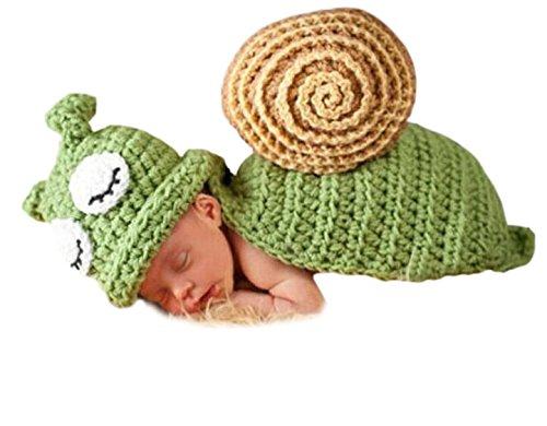 s Baby Handgefertigt Häkelware Fotografie Kostüm (Grüne Schnecke) (Schnecke Halloween-kostüm)