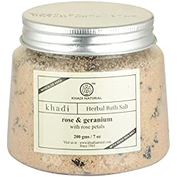 Khadi Rose & Geranium Bath Salt With Rose Petals,200g