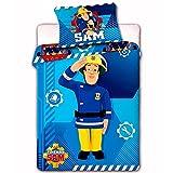 Feuerwehrmann Sam Kinderbettwäsche 100x135/40x60cm Kleinkind 2-teilige Garnitur für Kinderbett Bettbezug und Kissenbezug