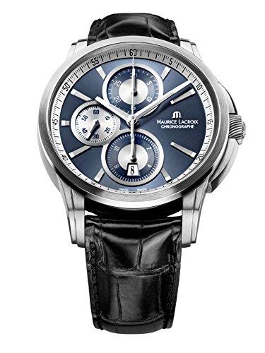 Maurice Lacroix pt6188-ss001–430da uomo Pontos automatico Chrono Black Genuine Crocodile Dark Blue Dial SS orologio