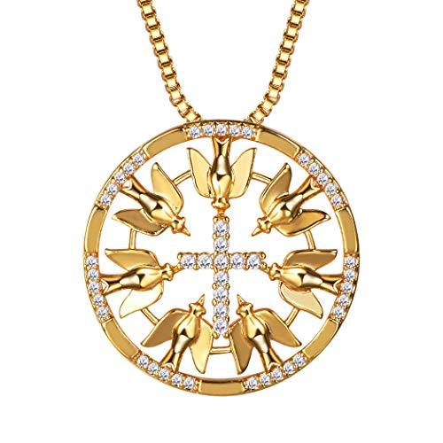 Suplight Damen Kette Zirkonia Kreuz mit Tauben Runder Anhänger Halskette 18K Vergoldet Kettenanhänger Schmuck Geschenk für Weihnachtsfeier, Gold