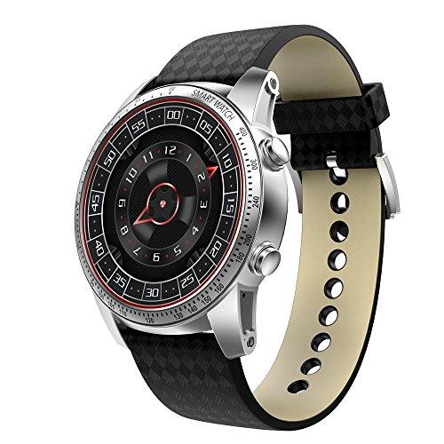HKPLDE 3G Smartwatch/mit Pulsmesser Kalorienzähler Sport Schrittzähler mit SIM/TF Card Solt für Frauen und Männer Fitness Armband-Silber (Quadband Handy Uhr)