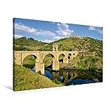 Premium Textil-Leinwand 90 cm x 60 cm quer, Brücke von Alcántara | Wandbild, Bild auf Keilrahmen, Fertigbild auf echter Leinwand, Leinwanddruck: Extremadura (CALVENDO Orte) - LianeM