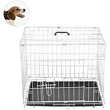 Jaula de Viaje Plegable para Mascota Perro Gato Mascotas 60 x 46 x 51 cm Construida de Alambre