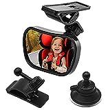Specchietto Retrovisore Bambini con ventosa e clip Specchio Auto Bambino in acrilico anti-rottura, Specchietto Neonato per Sicurezza, Specchio Retrovisore per Auto Sedile Posteriore Regolabile a 360°