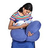 Momtobe Adjustable flip Feeding Pillow Blue Polka Print