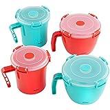 VonShef Set de 4 Pièces bols à soupe / bols à nouilles micro-ondable avec couvercle- sans BPA