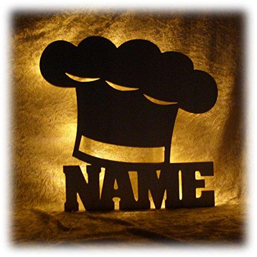 Schlummerlicht24 Kochmütze Deko Lampe mit Name Zubehör für den Koch lustige witzige Geschenke Set für Köche Küche Dekoration Wohnzimmer Restaurant Kantine (Kantine-set)