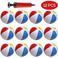 10 Coloridos balones de Playa hinchables. Paquete DE 12. Incluye inflador Manual Gratis. Inflables Ideal para Que los niños jueguen en el Agua de la Playa o la Piscina. inflables Bolas niños