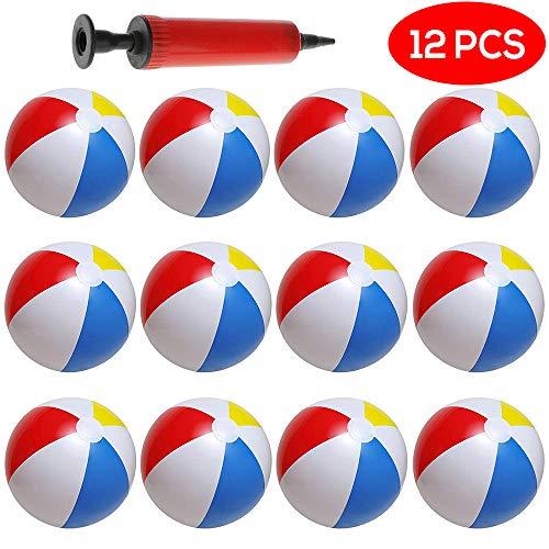 10 Coloridos balones de Playa hinchables. Paquete DE 12. Incluye inflador Manual...