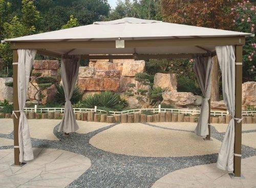 Cenador con estructura de madera acabado en color marrón y 3 x 4 mt Mod. Santorini