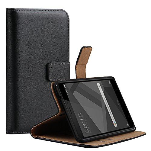 Ambaiyi Flip Echt Ledertasche Handyhülle Brieftasche Hülle Schutzhülle für Xiaomi Redmi 4X, Schwarz