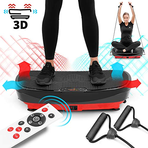 Hop-Sport 3D Vibrationsplatte HS-080VS Trainingsbänder Fernbedienung 99 Intensitätsstufen horizontale Vibrationen + Oszillation + 3D Vibrationen 3 Trainingszonen 8 Trainingsprogramme + 2 DC Motoren