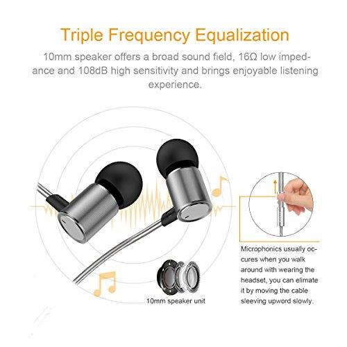 Doosl® In Ear Kopfhörer Hi-Fi Musik Kopfhörer mit 3,5 mm Stecker 16Ω Niedrige Impedanz und 108dB Hohe Empfindlichkeit -Silber - 4