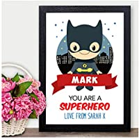 BATMAN Personalised Valentines Day Gifts for Him Boyfriend Husband Superhero - PERSONALISED ANY NAMES for Anniversary, Birthday - Black or White Framed A5, A4, A3 Prints or 18mm Wooden Blocks
