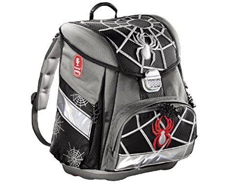 Hama Black Spider Schulrucksack ergonomischer Rucksack Multifunktionsrucksack Schulranzen Tagesrucksack
