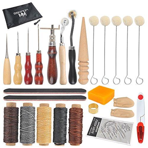 WOWOSS 33 Stück Leder Nähwerkzeuge Leder Handwerk DIY Hand Nähen Kit mit Groover, Ahle, gewachst, Fingerhut Gewinde, Wachs Seil, Leder Nadel, Reißverschlusstasche