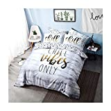 Craze London Chill Slogan Designer-Bettwäsche-Set, Polyester-Baumwolle, Bettbezug mit Kissenbezügen, Einzelbett, Doppelbett, Super-King-Size-Größe, Chill Slogan, King Size