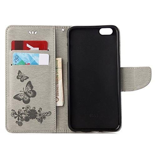 Meimeiwu Alta Qualità Retro Fiore Modello Design Slim Custodia in pelle - Flip Cover Leather Case Per iPhone 6 6S - Rosso Grigio