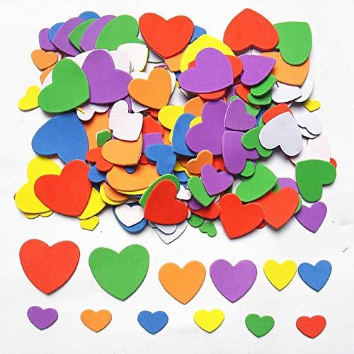 Dream Loom Schaumstoff Aufkleber, 540-600 Stück Selbstklebendes Herzen Aufkleber - für Karten zum Valentinstag und Kinder DIY Fertigkeit-Verzierung (Bunt) (Valentinstag Für Kinder)
