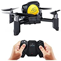 Price comparsion for Maxxrace Rc STEM toys DIY Mini Racing Drone Headless Mode 2.4Ghz Nano LED RC Quadcopter Altitude Hold Good for beginners- Black Remote control drone and Building toys for kids