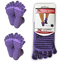 YogaAddict Yoga Pilates Full Toe Socks, 1 or 2 Pairs Set, Barre, Dance, Trampoline, Home Use, Workout, Fitness, Non Slip Anti Skid Grip Socks, (Choose Your Colours), For Women & Men