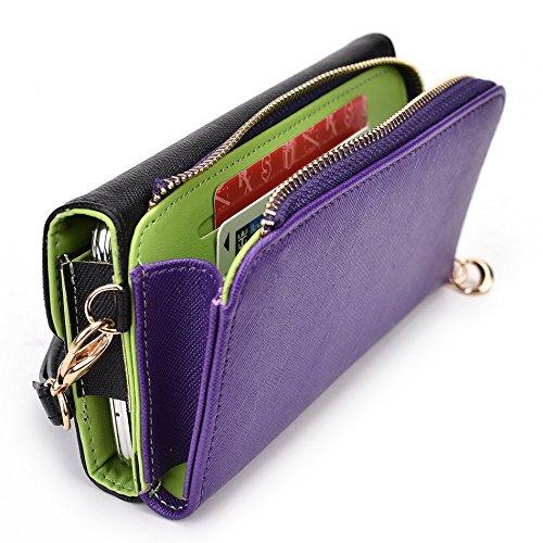 Kroo d'embrayage portefeuille avec dragonne et bandoulière Sangle pour LG G2Mini Black and Green Black and Purple