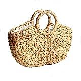 Warooms Seegras Geflochtene Handtasche mit Ringhandgriff Natürliche Schicke Hand Gewebt Runde Sommer Strand Tasche Retro Frauen Handtasche Korb
