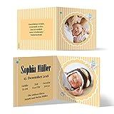 10 x Geburtskarten Babykarten Geburt Baby individuell Mädchen Junge - Gelber Sonnenschein