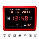 Aolvo Alt-modischer Wecker, Faltbarer Wecker mit Ständer, roter quadratischer LED-Temperaturkalender, digitaler Wecker, Wandmontage, mit Power-Off-Memory-Funktion, 8-Gruppenalarm