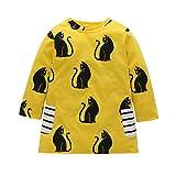 Kleid Mädchen, HUIHUI Festlich Prinzessin Party Kleid Mode Cartoon Katze Streifen Lange Ärmel Rock Casual Frühling Sommer Herbst Bekleidung 1-5 Jahr (110 (2-3Jahr), Gelb)