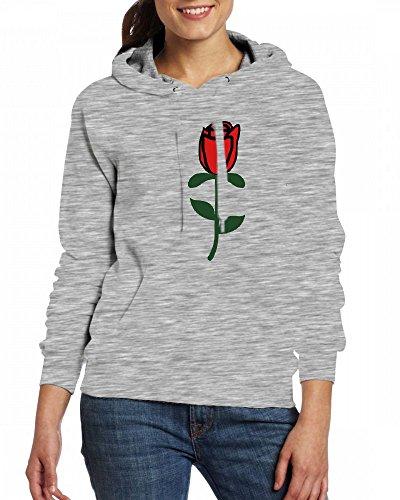 A Single Red Rose Womens Hoodie Fleece Custom Sweartshirts Grey