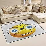 coosun Funny Emoji Smiley Emoticon área alfombra alfombra alfombra de suelo antideslizante Doormats para salón o dormitorio, tela, multicolor, 31 x 20 inch