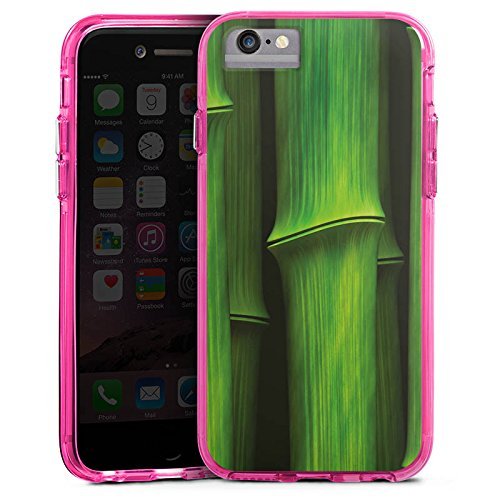 Apple iPhone 6 Plus Bumper Hülle Bumper Case Glitzer Hülle Bambus Plant Pflanze Bumper Case transparent pink