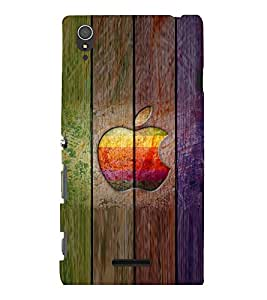 printtech Wooden Apple Back Case Cover for Sony Xperia T3