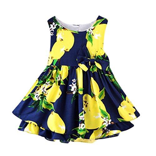 Beikoard vendita calda abbigliamento bambini bambini kids girls lemon cartoon stampa bowknot vestiti da principessa vestiti casual (marina militare, 90)