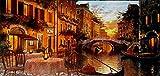 MI RINCON Cuadro de Madera Vintage Paisaje Romantico en Venecia, 52x25 cm