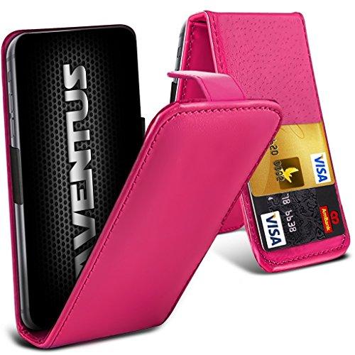 Aventus (Hot Pink) ZTE Grand S3 Premium-PU-Leder Universal Hülle Spring Clamp-Mappen-Kasten mit Kamera Slide und Karten-Slot-Halter