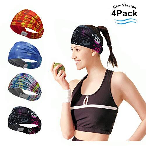 4 Stück Sport-Stirnband Nicht rutschende Sportschweißbänder Feuchtigkeitsabführende Kopfbedeckung Stirnbänder Perfekt für Radfahren, Laufen, Yoga, Fitnesstraining für Herren und Damen. (4 color 5)