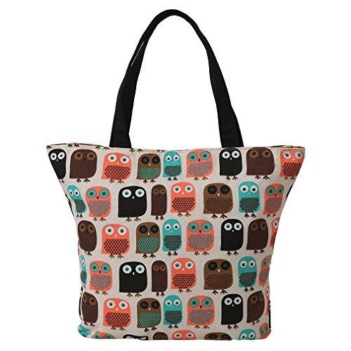 Borsa a tracolla di tela borsa riutilizzabile Shopping Bags Carrier borsa stampa con gufo-Très Chic Mailanda