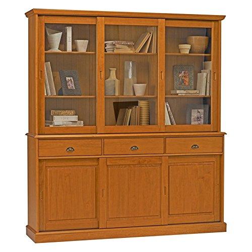 ACTUAL DIFFUSION 38846 Windsor Buffet Vaisselier Bibliothèque avec 6 Portes Coulissantes Bois Miel 42 x 178 x 199 cm