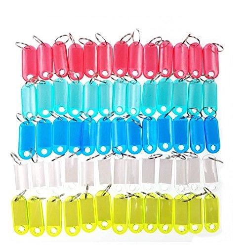 JZK Set 60 targhette per chiavi plastica trasparente portachiavi colorati con etichetta e anelli per codifica/riorganizzare / identificare chiavi e bagagli, 5 x 2 cm