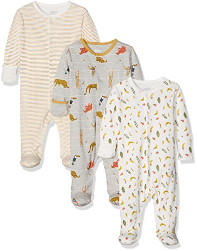 Mamas & Papas Baby-Jungen Strampler 3Pk Jungle Animal Aio, Multicoloured (Mustard), 3-6 Monate