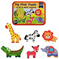 KUNEN Puzzle Games 6-In-A-Box! My First Animal Puzzle Set Wooden Jigsaw Puzzles For Boy & Girl Toddlers