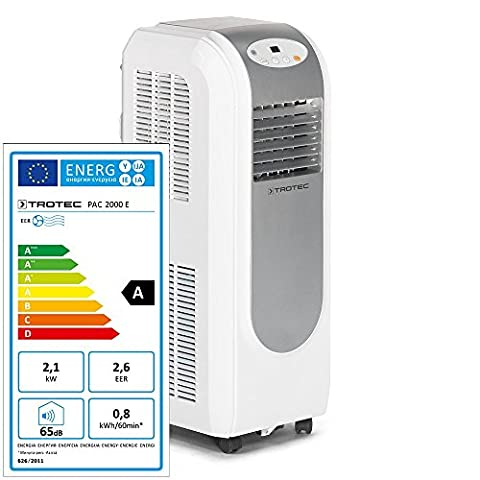 TROTEC Lokales mobiles Klimagerät Klimaanlage PAC 2000 E mit 2,1 kW / 7.200 Btu, EEK A (inkl. Timer-Funktion, Fernbedienung, 3 Ventilationsstufen, Einstellbare (Klimagerät Delonghi)